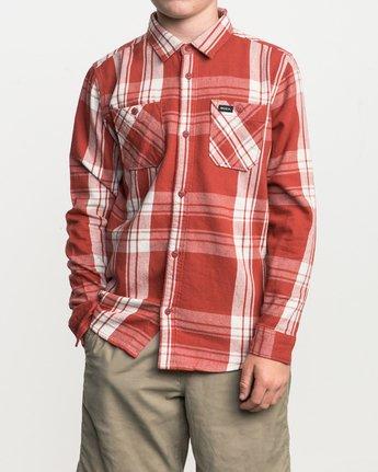 1 Boy's Wanted Plaid Flannel Red B551SRWA RVCA