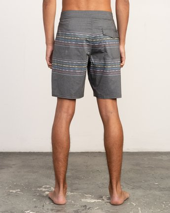 "4 Double Vision Striped 19"" Boardshort Black M162TRDO RVCA"