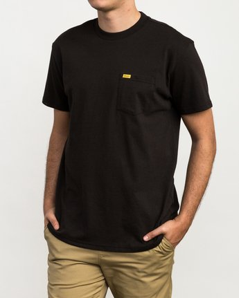 1 Day Shift Label Pocket T-Shirt Black M414SRDE RVCA