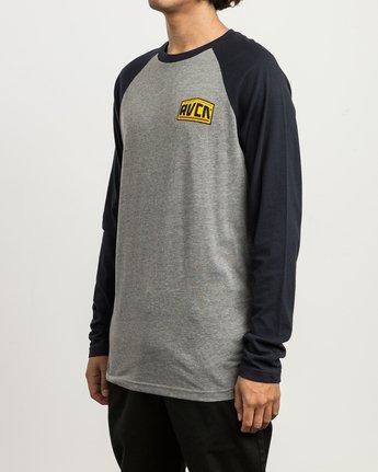 3 Roadside Baseball Raglan T-Shirt Grey M454SRRO RVCA