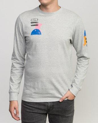 1 Block Print Long Sleeve T-Shirt Grey M460PRBL RVCA