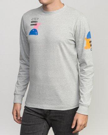 2 Block Print Long Sleeve T-Shirt Grey M460PRBL RVCA