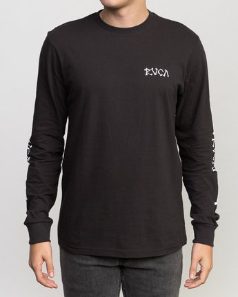 2 Bonezy Long Sleeve T-Shirt Black M460PRBO RVCA