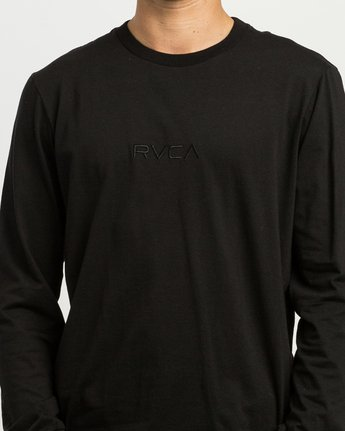 4 Small RVCA Embroidered Long Sleeve T-Shirt Black M465SRSM RVCA
