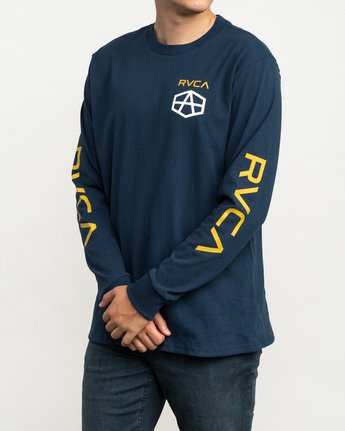3 Reynolds Hex Long Sleeve T-Shirt Blue M492QRRE RVCA