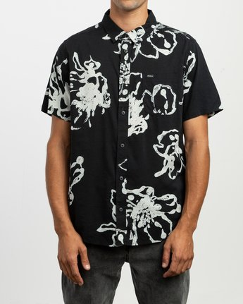 1 Sage Vaughn Linear Button-Up Shirt Black M502TRVL RVCA