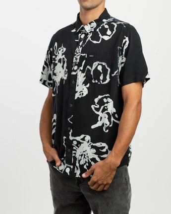2 Sage Vaughn Linear Button-Up Shirt Black M502TRVL RVCA