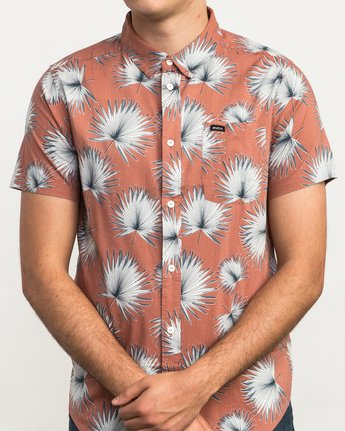 4 Palms Printed Button-Up Shirt Brown M512QRPA RVCA