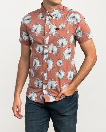 2 Palms Printed Button-Up Shirt Brown M512QRPA RVCA