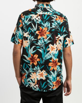 4 Montague Floral Button-Up Shirt Black M513TRMF RVCA