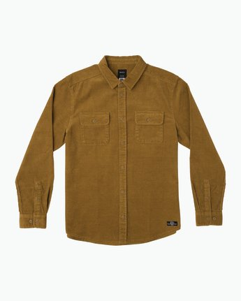 0 Campbell Corduroy Button-Up Shirt Brown M554SRCA RVCA