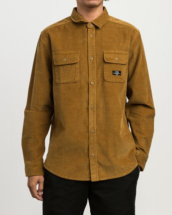 1 Campbell Corduroy Button-Up Shirt Brown M554SRCA RVCA