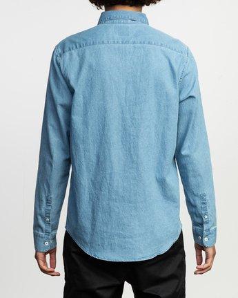 3 Nakama Long Sleeve Button-Up Shirt Blue M557TRND RVCA