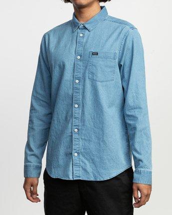 2 Nakama Long Sleeve Button-Up Shirt Blue M557TRND RVCA
