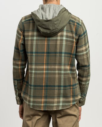 3 Essex Plaid Hooded Flannel Green M561SRSW RVCA
