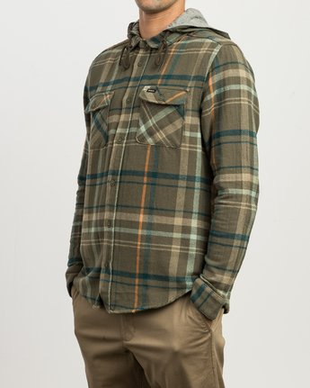 2 Essex Plaid Hooded Flannel Green M561SRSW RVCA