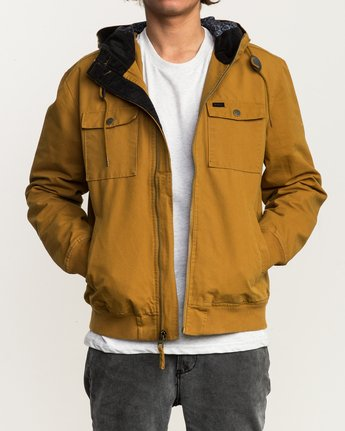 1 Hooded Bomber II Jacket Brown M703QRHB RVCA
