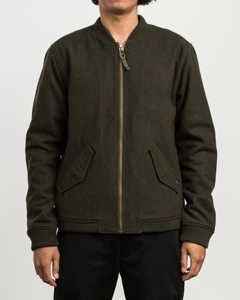 2 Collective Wool Bomber Jacket Green M704SRVO RVCA