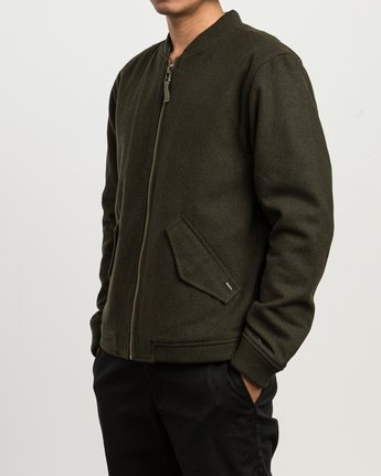 3 Collective Wool Bomber Jacket Green M704SRVO RVCA