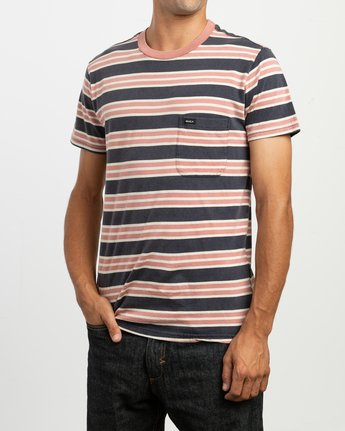 3 Lucas Striped Knit T-Shirt Blue M901TRLS RVCA