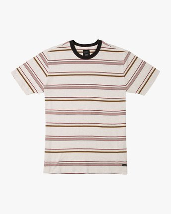 0 Avila Striped Knit T-Shirt White M903TRAS RVCA