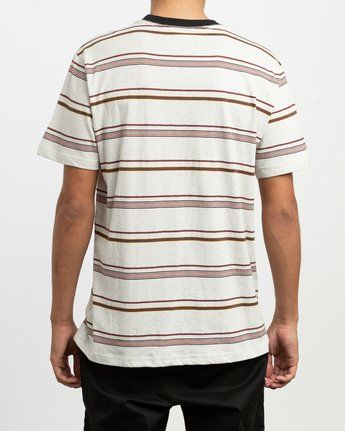 2 Avila Striped Knit T-Shirt White M903TRAS RVCA
