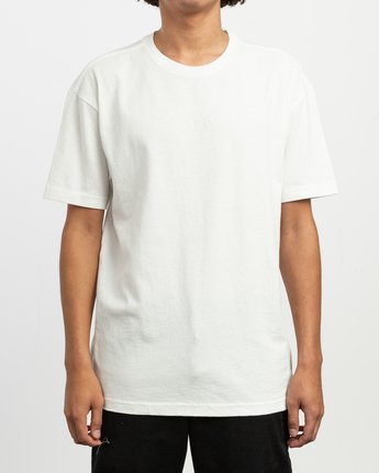 1 OS Pigment Embroidered Knit T-Shirt White M905QROP RVCA