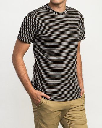 3 Curren Caples Benson Striped T-Shirt Black M908QRBS RVCA