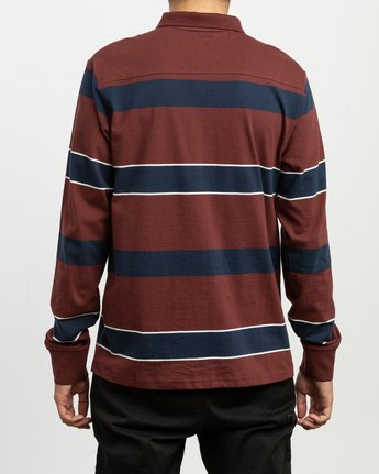 3 Darklands Striped Polo Shirt Red M951TRDP RVCA