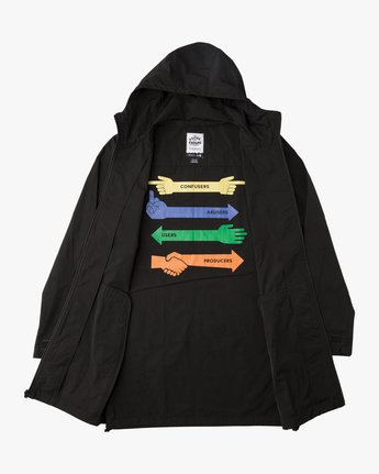 1 Espo Hooded Trench Coat Black ML702ESP RVCA