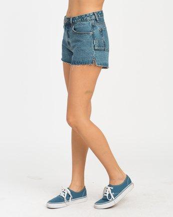 2 Highly Werked High Waist Denim Shorts Blue W203NRHW RVCA