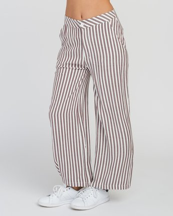 2 Manna Striped High Rise Pants Pink W302SRMA RVCA