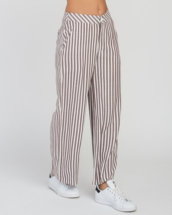 5 Manna Striped High Rise Pants Pink W302SRMA RVCA
