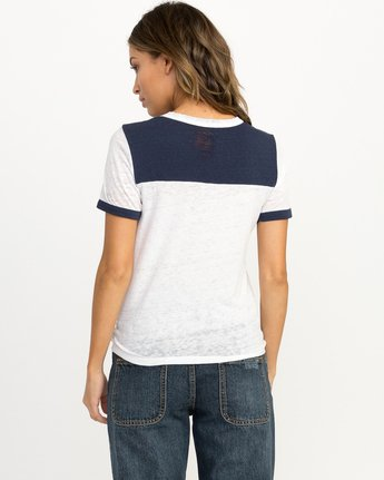 2 Looped Ringer T-Shirt Blue W410QRLO RVCA