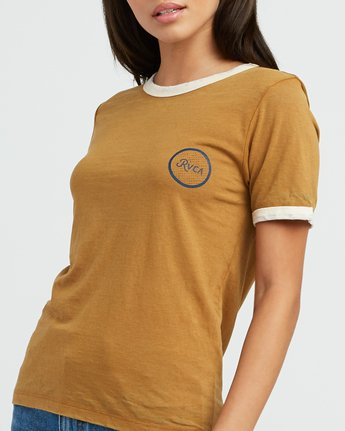 3 Pixel Script Burnout Ringer T-Shirt Yellow W410SRPI RVCA