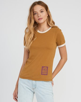 0 Rivey Era Burnout Ringer T-Shirt Yellow W410SRRI RVCA