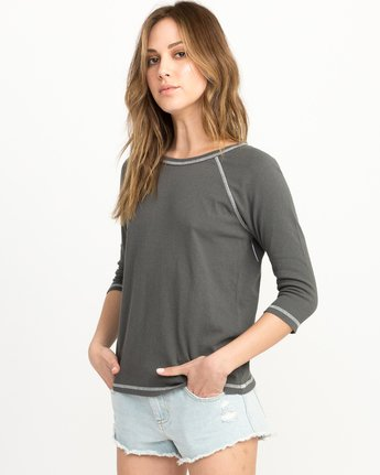 1 Label Raglan T-Shirt Grey W424QRLA RVCA