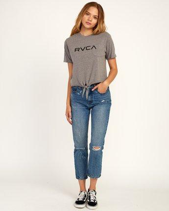 4 Big RVCA Knotted T-Shirt Grey W438TRBI RVCA