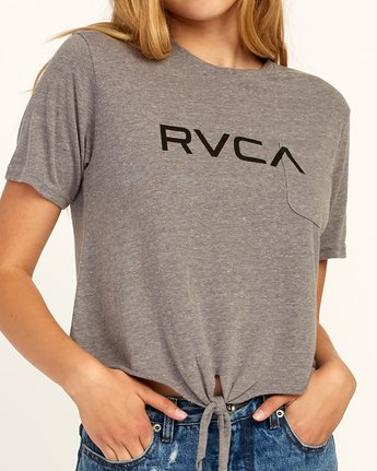 3 Big RVCA Knotted T-Shirt Grey W438TRBI RVCA