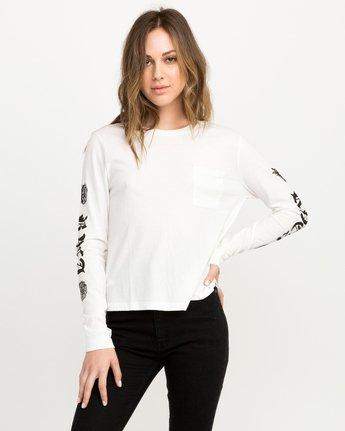 0 JeanJean Rose & Roses Long Sleeve T-Shirt White W456QRRO RVCA