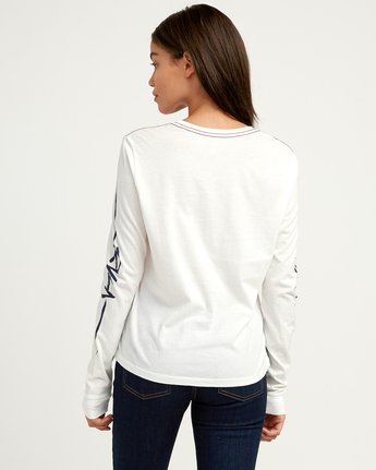 3 Dry Brush Long Sleeve T-Shirt White W456QRRS RVCA