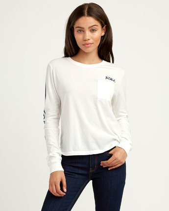 1 Dry Brush Long Sleeve T-Shirt White W456QRRS RVCA