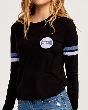 3 Bow-Tied Long Sleeve T-Shirt Black W456TRBO RVCA