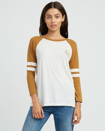 0 Slite Script Burnout Ringer T-Shirt Yellow W457SRSL RVCA