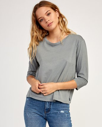 1 Oil And Water Long Sleeve T-Shirt Grey W463TROI RVCA