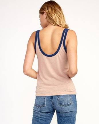 2 One Shott Ringer Tank Top Beige W471TRON RVCA
