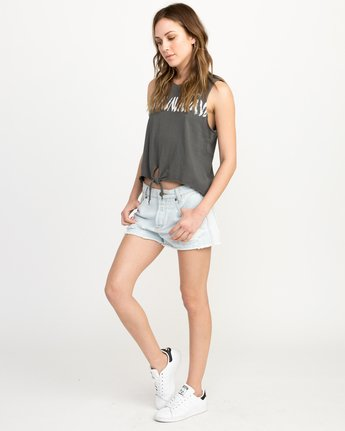 4 Dry Brush Knotted Tank Top Grey W494QRDR RVCA