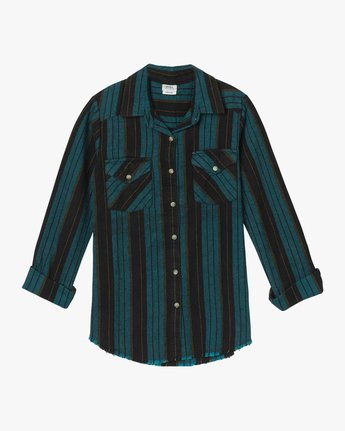 5 Arch Striped Button-Up Flannel Top  W502QRAR RVCA