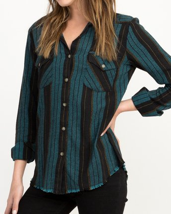 3 Arch Striped Button-Up Flannel Top  W502QRAR RVCA