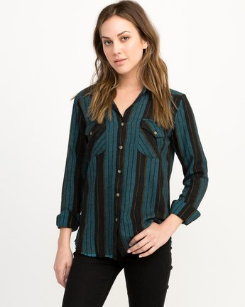 0 Arch Striped Button-Up Flannel Top  W502QRAR RVCA